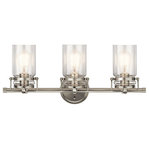 Brinley Brushed Nickel 24-Inch Three-Light Bath Light