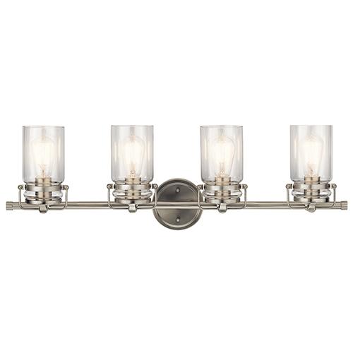 Brinley Brushed Nickel 32-Inch Four-Light Bath Light
