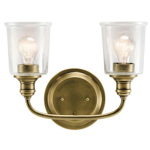 Kichler Waverly Natural Brass 15-Inch Two-Arm Bath Light