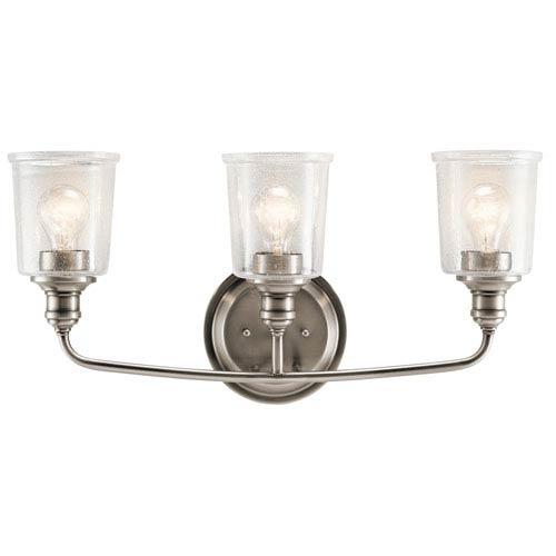 Waverly Classic Pewter 24-Inch Three-Arm Bath Light