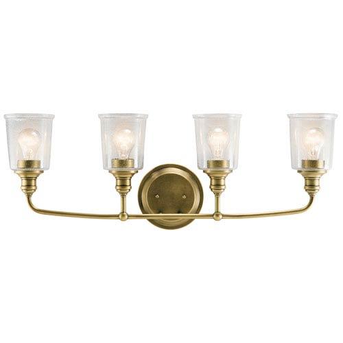 Waverly Natural Brass 33-Inch Four-Arm Bath Light