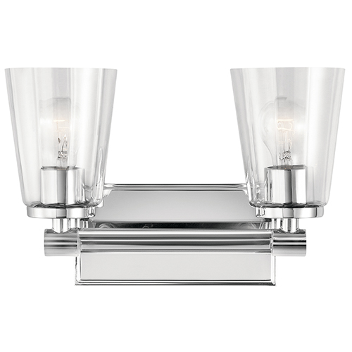 Audrea Chrome 14-Inch Two-Light Bath Light