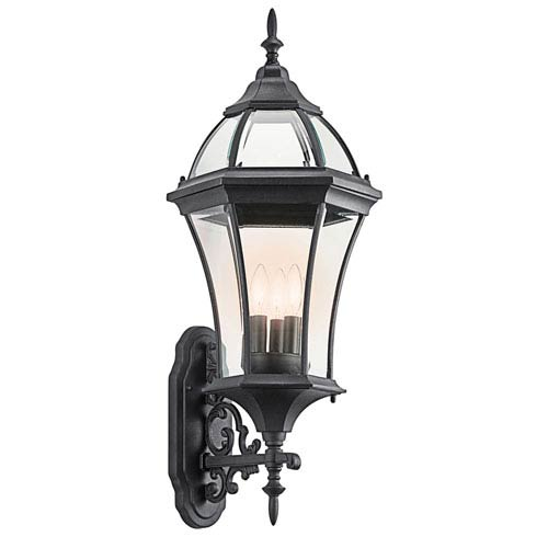 New Street USA Black Three-Light Outdoor Wall Mount