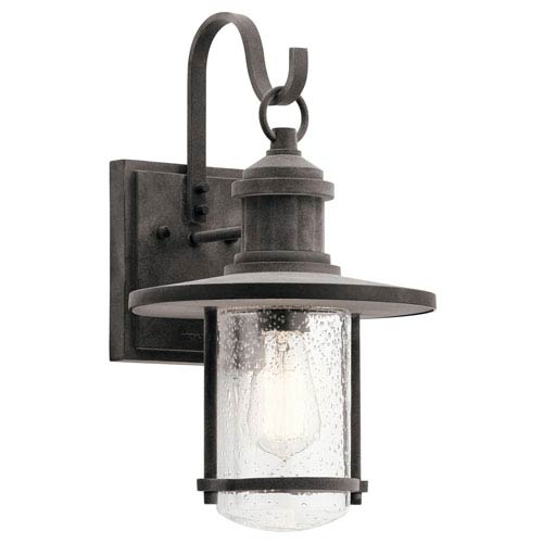Kichler Riverwood Weathered Zinc 10-Inch One-Light Outdoor Wall Light