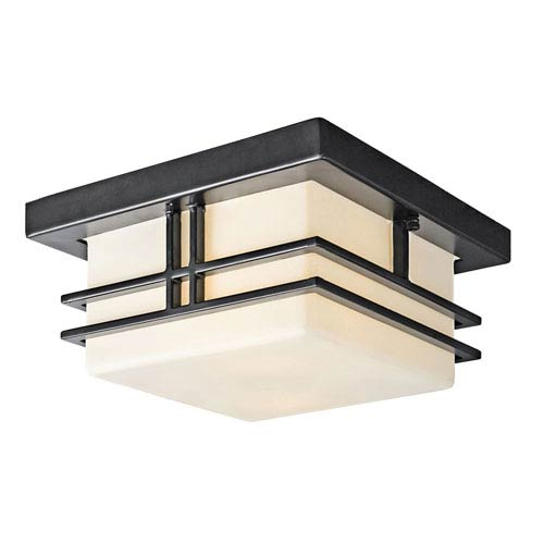 Tremillo Black Two Light Outdoor Flush Mount