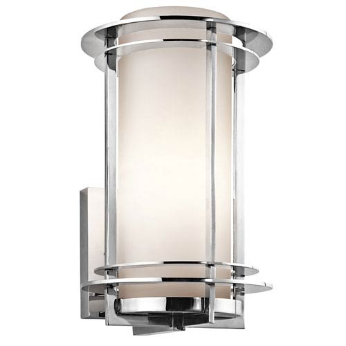 Pacific Edge Polished Stainless Steel Outdoor Wall Mounted Light - Width 8 Inches