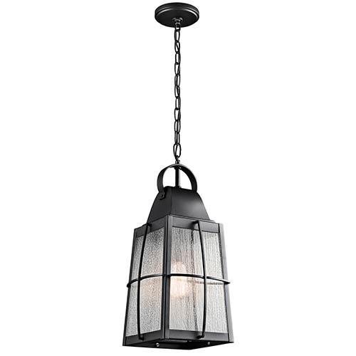 Tolerand Textured Black One-Light Outdoor Hanging Pendant