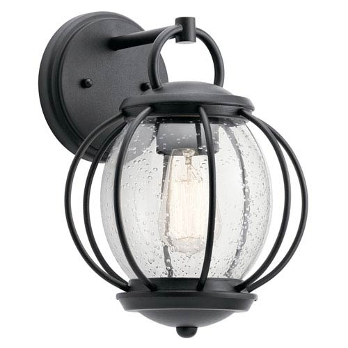 Kichler Vandalia Textured Black 9-Inch One-Light Outdoor Wall Light
