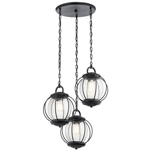 Vandalia Textured Black 23-Inch Three-Light Outdoor Pendant