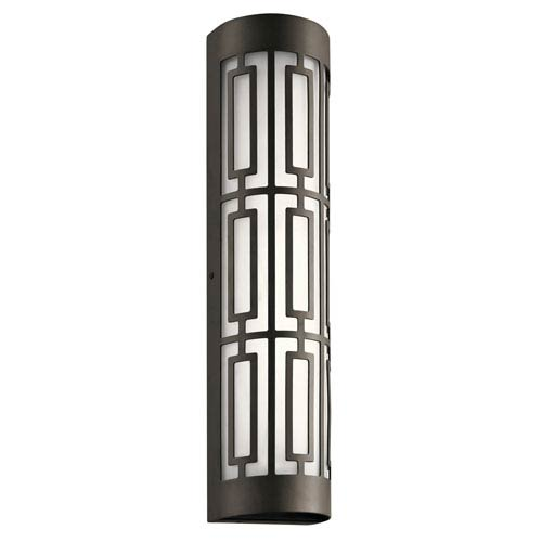 Kichler Empire Olde Bronze 5-Inch Two-Light LED Outdoor Wall Light with Glass Shade