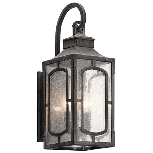 Kichler Bay Village Weathered Zinc 7-Inch Two-Light Small Outdoor Wall Light