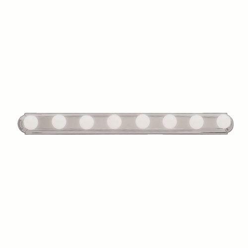 Brushed Nickel Eight-Light Bath Fixture