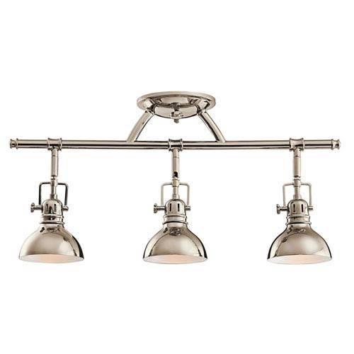 Polished Nickel Three-Light Fixed Rail