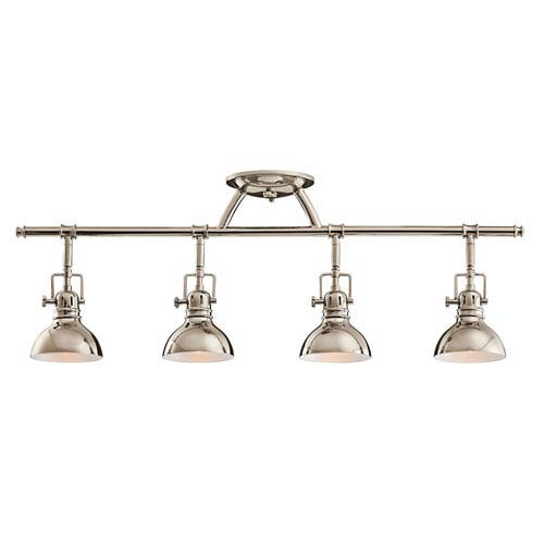 Polished Nickel Four-Light Fixed Rail