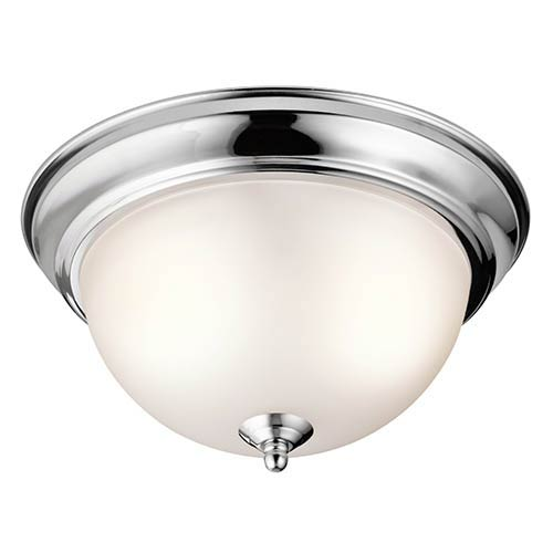 Chrome Two-Light 11.25-Inch Wide Flush Mount