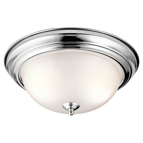 Chrome Two-Light 13.25-Inch Wide Flush Mount