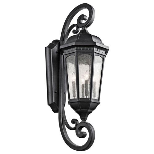 Courtyard Textured Black Four Light X-Large Outdoor Wall Sconce