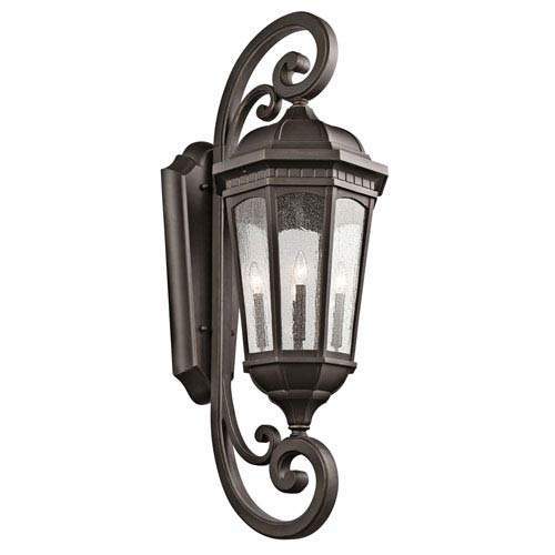 Kichler Courtyard Rubbed Bronze Four Light X-Large Outdoor Wall Sconce