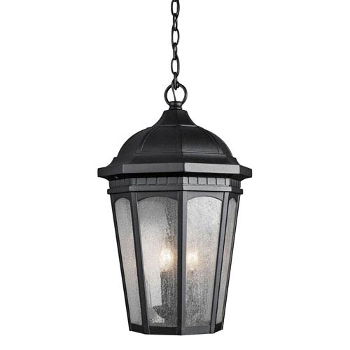 Kichler Courtyard Three-Light Textured Black Outdoor Hanging Pendant