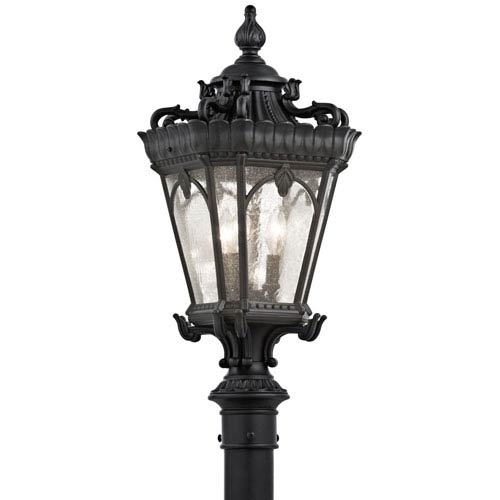Tournai Three-Light Textured Black Outdoor Post Mount
