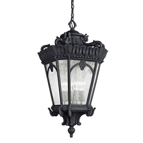 Tournai Four-Light Textured Black Outdoor Hanging Pendant