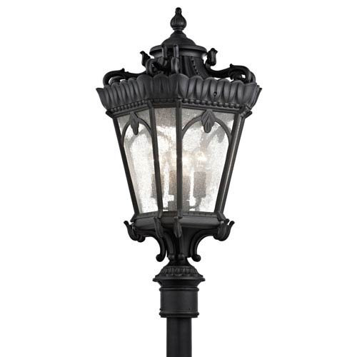 Tournai Four-Light Textured Black Large Outdoor Post Mount