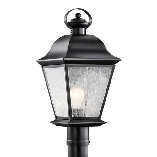 Mount Vernon Black One Light Outdoor Post Lantern with Clear Seedy Glass