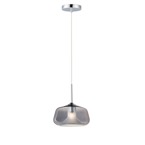 Deuce Polished Chrome One-Light LED Mini Pendant with Smoke Glass