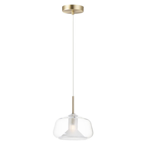 Deuce Satin Brass One-Light LED Mini Pendant with Clear Glass