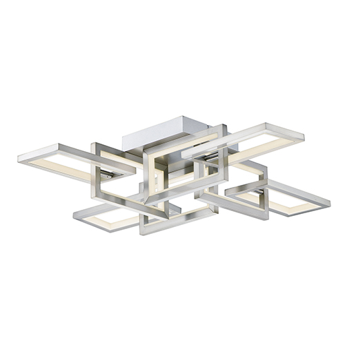 Link Satin Nickel Eight-Light LED Flush Mount