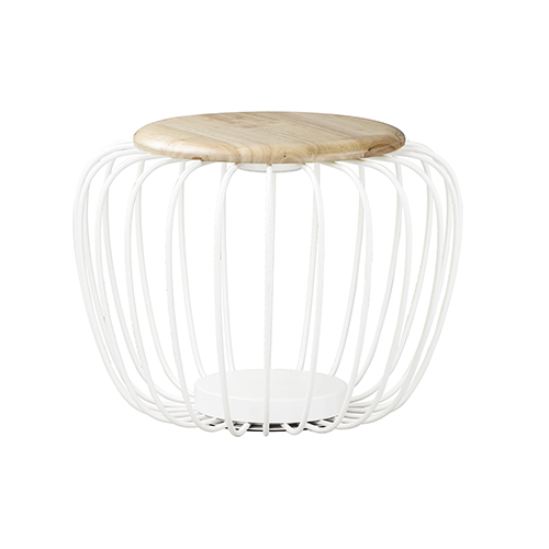 Cage White and Gold 19-Inch LED Table Lantern