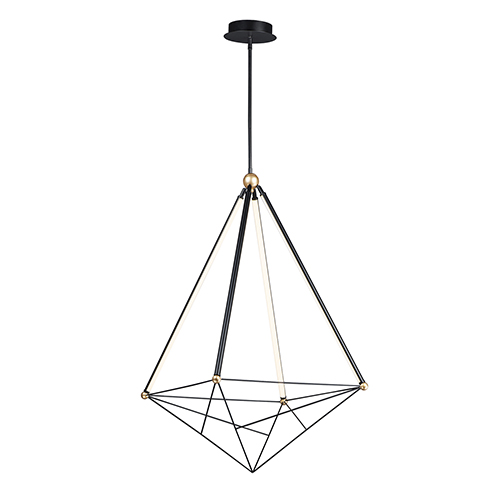 Spire Black and Gold Four-Light LED Pendant