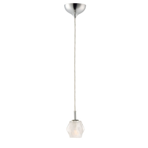 Tangent Polished Chrome LED Mini Pendant with Faceted Glass