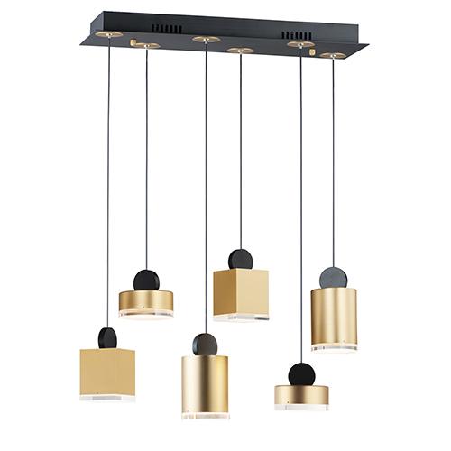 Nob Black and Gold Six-Light LED Linear Pendant