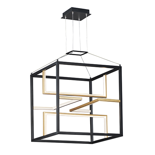 Chamber Black and Gold 18-Inch Four-Light LED Single Pendant