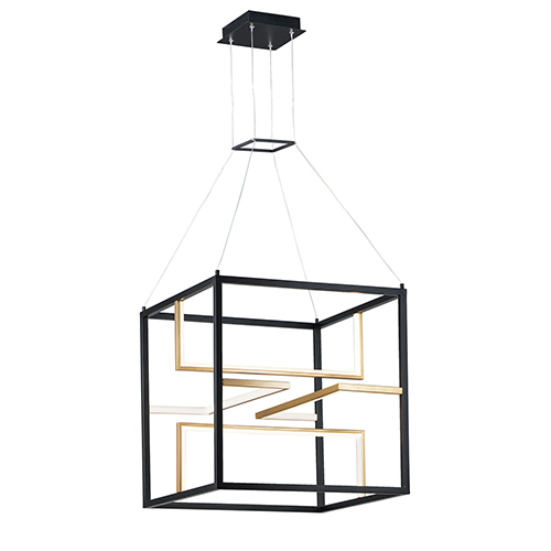 Chamber Black and Gold 24-Inch Four-Light LED Single Pendant