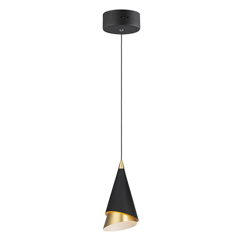 Mermaid Black and Metallic Gold LED Mini Pendant