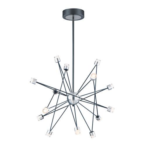 Phaeton Black and Brushed Aluminum 30-Inch 14-Light LED Pendant
