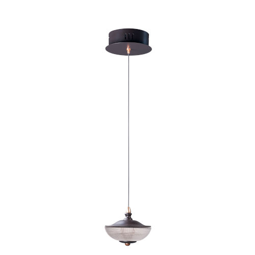 Bella Bronze and Gold One-Light LED Mini Pendant With Prismatic Clear Glass