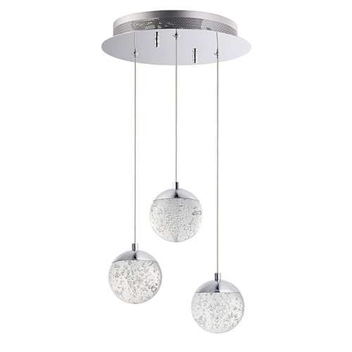 Orb II Polished Chrome Three-Light LED Pendant