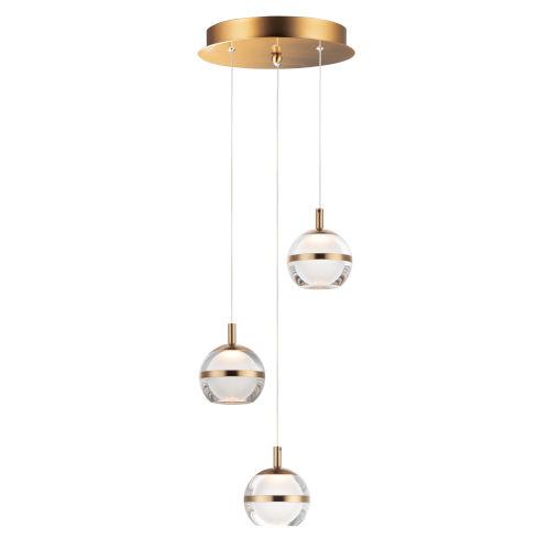 Ambit Natural Aged Brass Three-Light LED Mini Pendant