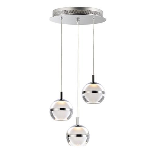 Swank Polished Chrome Three-Light LED Pendant