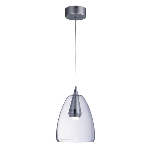 Sven Polished Chrome and Silver One-Light LED Mini Pendant With Clear Glass
