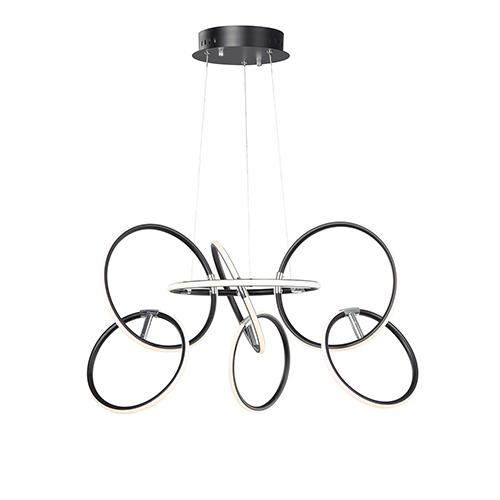 Ringer Black and Polished Chrome Seven-Light LED Pendant