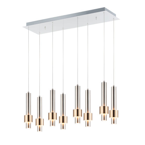 Reveal Satin Nickel and Satin Brass 10-Inch Eight-Light LED Mini Pendant