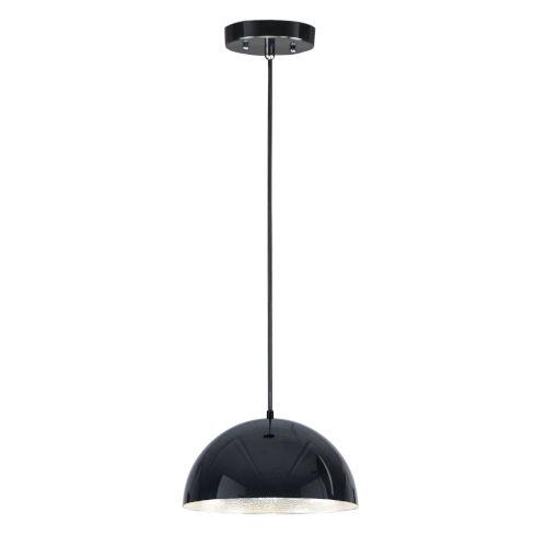 Hemisphere Gloss Black and Aluminum 14-Inch LED Pendant