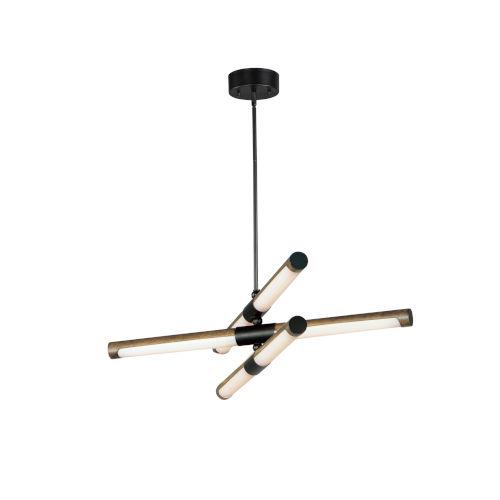 Rollo Antique Pecan and Black Six-Light LED Pendant