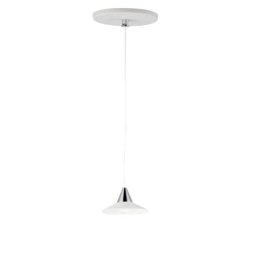 White and Polished Chrome One-Light LED Mini Pendant