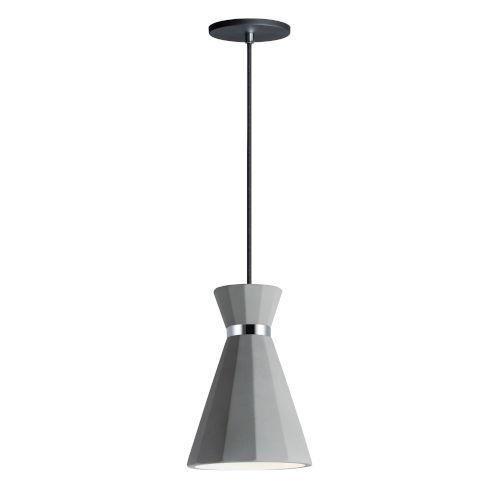 Sash Gray Concrete and Polished Chrome 8-Inch LED Pendant