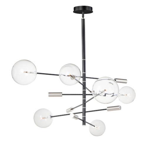 Black and Satin Nickel Six-Light LED Mini Pendant